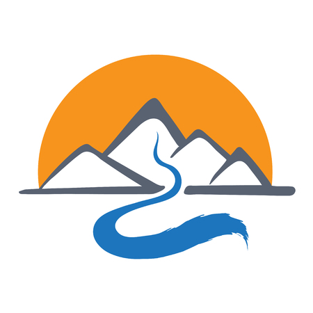 Mountain river or stream and sun icon, vector icon illustration.
