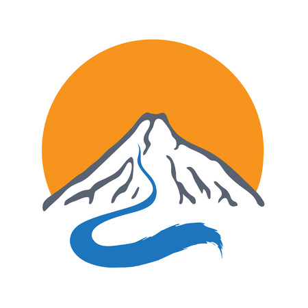 brook: Mountain river or stream and sun icon, vector icon illustration.