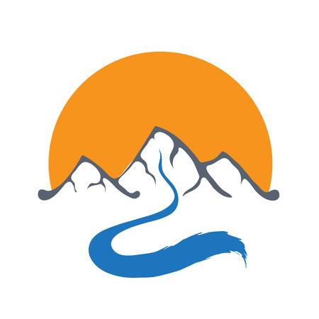mountain stream: Mountain river or stream and sun icon, vector icon illustration.