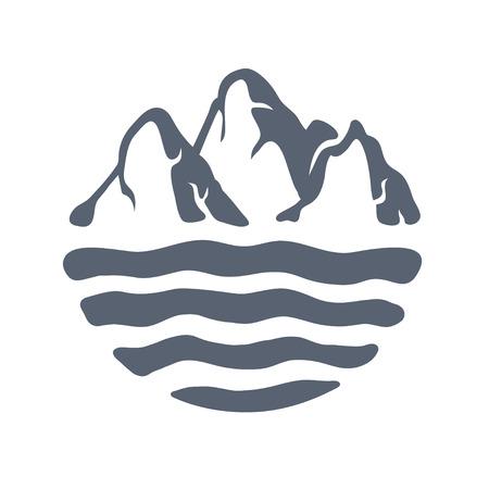 Bergketen of eiland over een meer, zee of oceaan, outdoor logo vectorillustratie. Logo