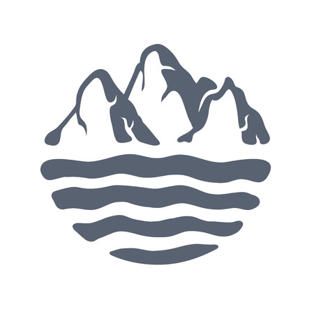 Massif montagneux ou de l'île sur un lac, mer ou océan, EXTÉRIEUR logo illustration vectorielle. Logo