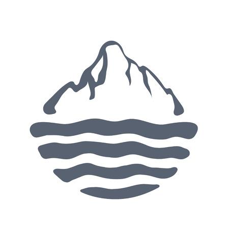 moutain: Mountain range or island over a lake, sea or ocean, outdoor icon vector illustration.