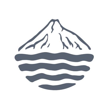 mountaintop: Mountain range or island over a lake, sea or ocean, outdoor icon vector illustration.