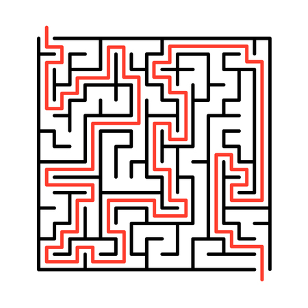 riddles: Black vector maze, labyrinth illustration with solution.