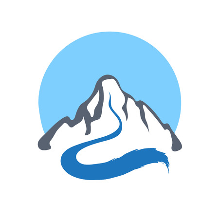 Mountain river or stream , vector icon illustration. Ilustração