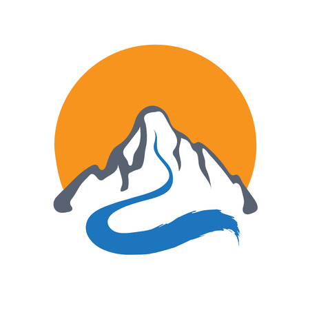 mountain stream: Mountain river or stream and sun , vector icon illustration. Illustration