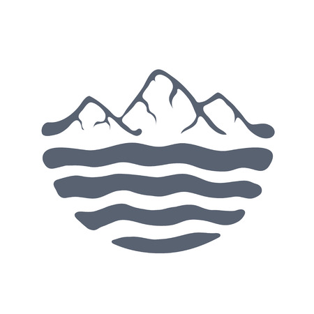 moutain climbing: Mountain range or island over a lake, sea or ocean, outdoor vector illustration.