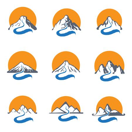 mountain stream: Mountain river or stream and sun , vector icon set illustration.
