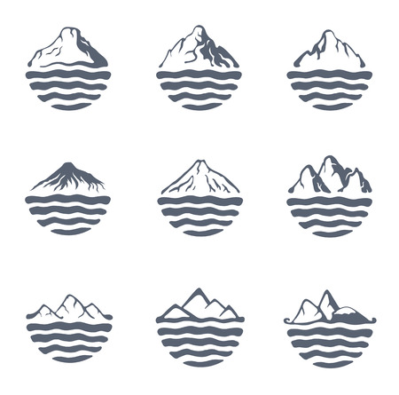 moutain climbing: Mountain range or island over a lake, sea or ocean, outdoor set, vector illustration. Illustration