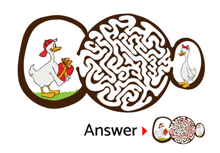 Vector maze puzzle for kids with ducks, labyrinth illustration with solution.