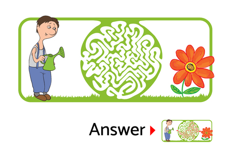 for kids: Vector maze puzzle for kids with gardener and flower, labyrinth illustration with solution.