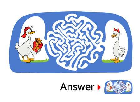 lost child: Vector maze puzzle for kids with ducks, labyrinth illustration with solution.