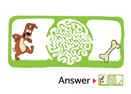fondo para bebe: Vector laberinto del rompecabezas para los niños con el perro y el hueso, El laberinto de la ilustración con la solución. Vectores