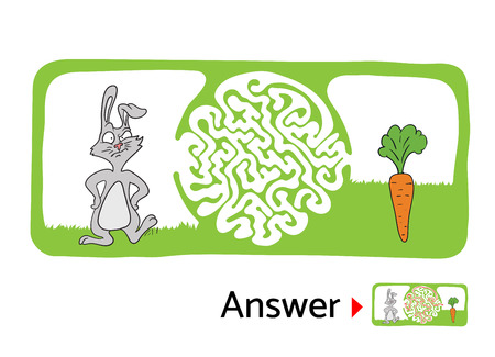 for kids: Vector maze puzzle for kids with rabbit and carrot, labyrinth illustration with solution. Illustration