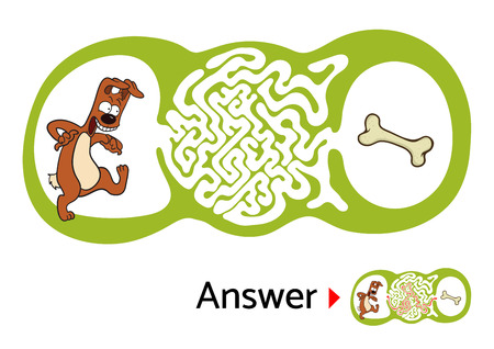 for kids: Vector maze puzzle for kids with dog and bone, labyrinth illustration with solution.