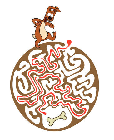 lost child: Vector maze puzzle for kids with dog and bone, labyrinth illustration with solution.