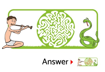 Vector maze puzzle for kids with snake and charmer, labyrinth illustration with solution. Illustration