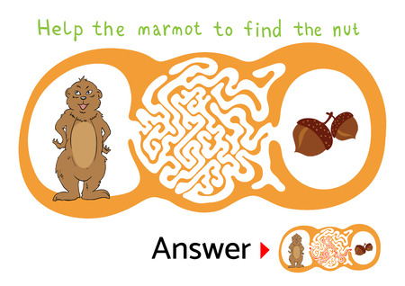 for kids: Vector maze puzzle for kids with Marmot and Nut, labyrinth illustration with solution. Illustration
