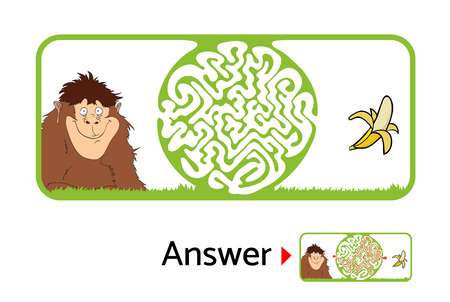 fondo para bebe: Vector maze puzzle for kids with monkey and banana, labyrinth illustration with solution. Vectores