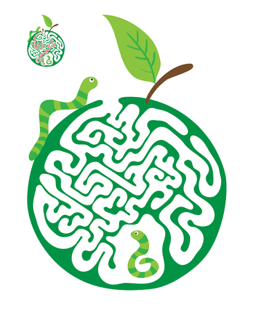 Vector maze puzzle for kids with caterpillars and apple, labyrinth illustration with solution.