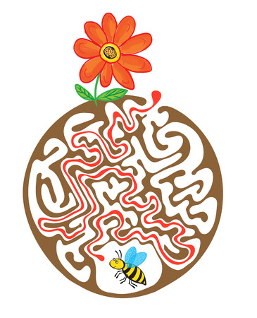 lost child: Vector maze puzzle for kids with bee and flower, labyrinth illustration with solution.