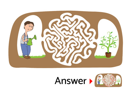 lost child: Vector maze puzzle for kids with gardener and flower, labyrinth illustration with solution.