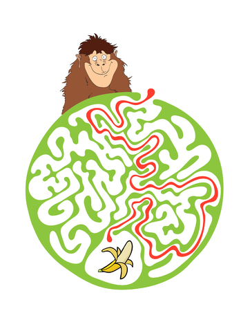 lost child: Vector maze puzzle for kids with monkey and banana, labyrinth illustration with solution. Illustration