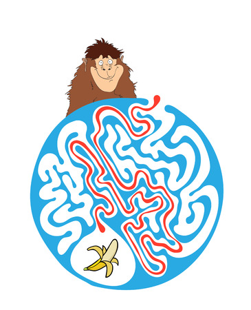 for kids: Vector maze puzzle for kids with monkey and banana, labyrinth illustration with solution. Illustration
