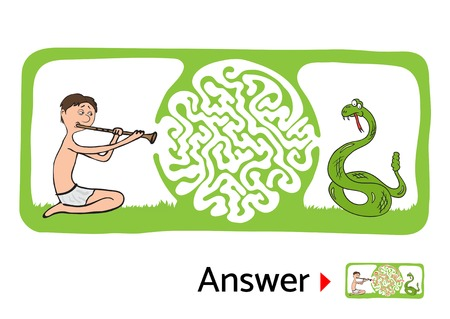 snake charmer: Vector maze puzzle for kids with snake and charmer, labyrinth illustration with solution. Illustration