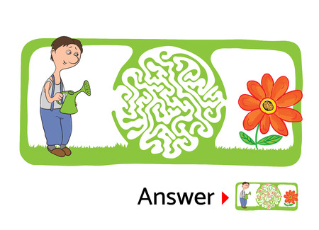 Vector maze puzzle for kids with gardener and flower, labyrinth illustration with solution.
