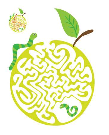caterpillars: Vector maze puzzle for kids with caterpillars and apple, labyrinth illustration with solution.