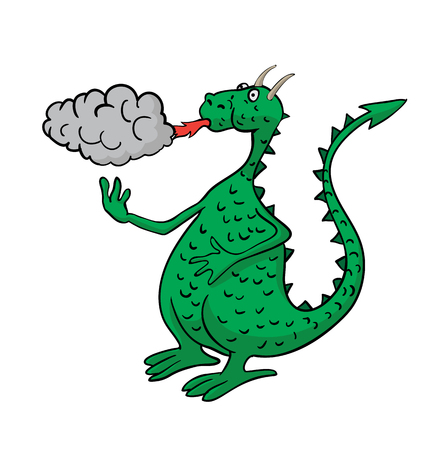 spewing: Green cartoon dragon, spewing fire and smoke.