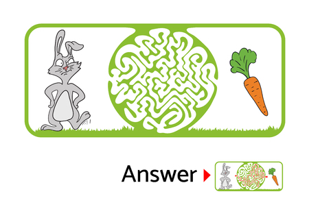 lost child: Vector maze puzzle for kids with rabbit and carrot, labyrinth illustration with solution. Illustration
