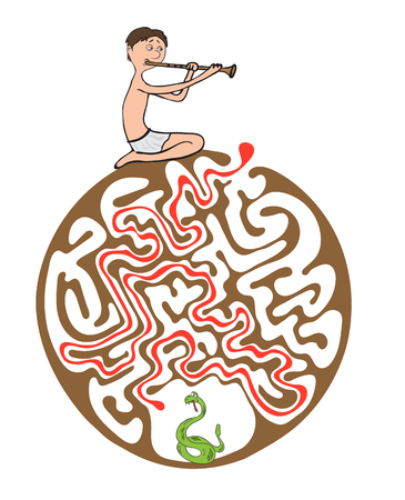 charmer: maze puzzle for kids with snake and charmer, labyrinth illustration with solution.