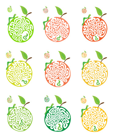 for kids: Set of maze puzzle for kids with caterpillars and apple, labyrinth illustration with solution. Illustration