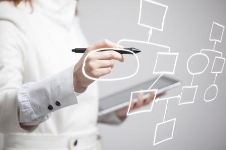 사업가 드로잉 흐름도, 회색 배경에 비즈니스 프로세스 개념입니다.