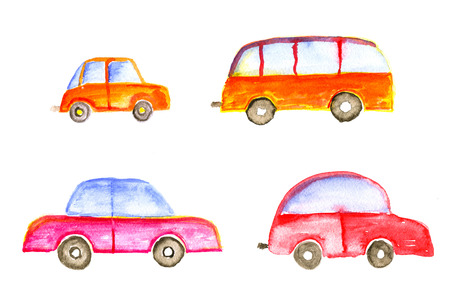baby toys: Transport set: cars and bus, hand-drawn watercolor child illustration.