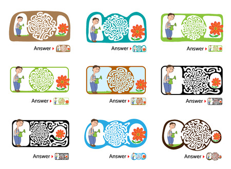 for kids: Set of vector maze puzzle for kids with gardener and flower, labyrinth illustration with solution.