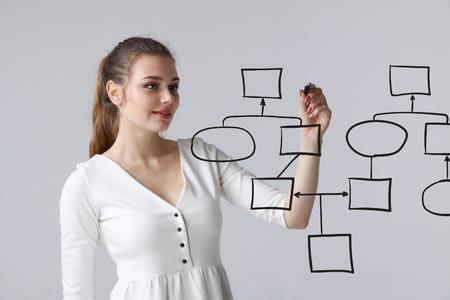Geschäftsfrau Zeichnung Flussdiagramm, Geschäftsprozess-Konzept auf grauem Hintergrund.