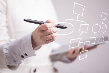 Zakenvrouw tekening stroomschema, business process concept op een grijze achtergrond.