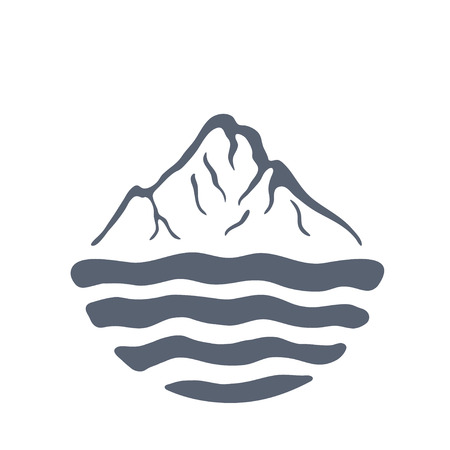 alpinism: Mountain range or island over a lake, sea or ocean, outdoor
