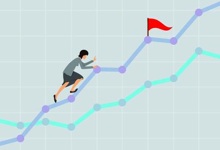 clamber: Businesswoman climbing up the rising financial chart. Business development concept. Vector illustration.