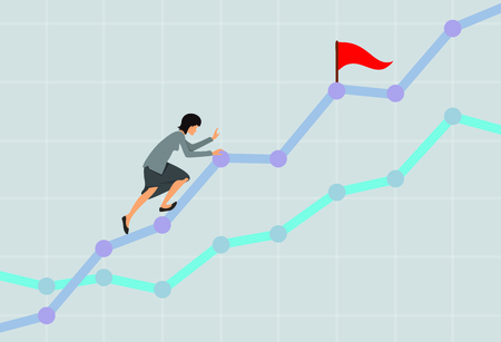 Businesswoman climbing up the rising financial chart. Business development concept. Vector illustration.