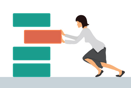 shove: Benchmarking concept illustration, vector. Businesswoman pushes the element to bring up to standard benchmark.