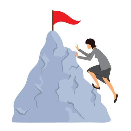purposefulness: Business woman climbs to the mountain top. Reaching the goal concept, vector illustration.
