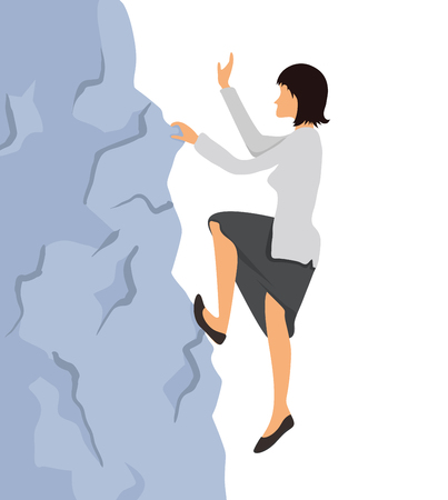 Businesswoman climbs to the mountain top. Reaching the goal concept, vector illustration.