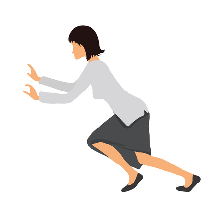 Mujer en ropa de negocios empujando algo. Ejercicios de la aptitud en la oficina, ilustración vectorial.