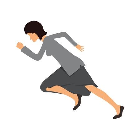 businesswoman skirt: Businesswoman in skirt running sprint, isolated vector illustration.