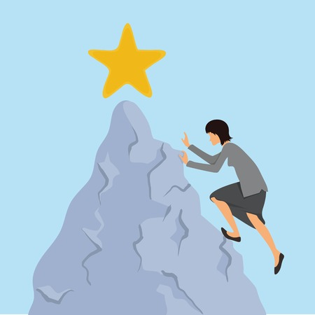 benchmarks: Businesswoman climbs to the mountain top. Reaching the goal concept, vector illustration.
