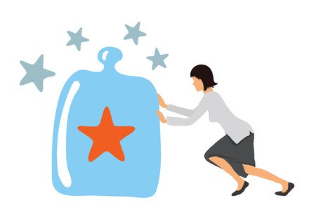 Benchmarking concept illustration. Businesswoman and Benchmark under a glass cover, vector icon.